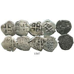 Lot of 5 Potosi, Bolivia, cob 2 reales of Ferdinand VI, various dates: 1752q, 1753C/q, 1755q, 1756q