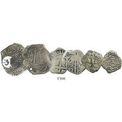 Lot of 3 Potosi, Bolivia, cob 2 reales, various dates: 1664E (ex-Sellschopp), 1693VR and 1756q.