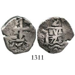 Potosi, Bolivia, cob 2 reales, 1771/0V-(Y), very rare.