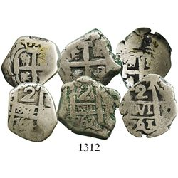 Lot of 3 Potosi, Bolivia, cob 2 reales, of Charles III, assayers V-Y, various dates: 1761, 1764 and