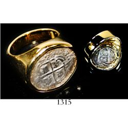 Potosi, Bolivia, cob 1 real, 1654E, Royal-like, contour-mounted with cross-side out in 14K men's gol