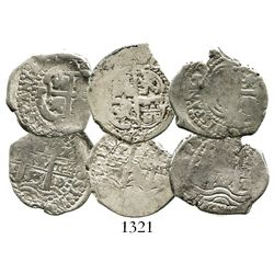 Lot of 3 Potosi, Bolivia, cob 1R of the mid-1600s, assayer E, various dates (1653E, 1669E and 1674E)