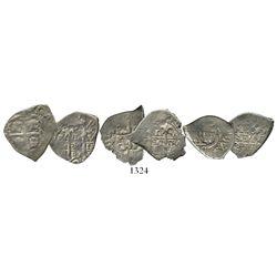 Lot of 3 Potosi, Bolivia, cob 1R of Charles II, assayer V, various dates (1680, 1681 and 1682).
