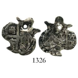 "Potosi, Bolivia, cob 1 real, Charles II, assayer VR (date not visible), cut down into classic ""heart"