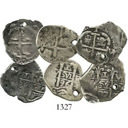 Lot of 3 Potosi, Bolivia, cob 1R of Charles II, assayer VR, various dates (1687, 1690 and 1696).