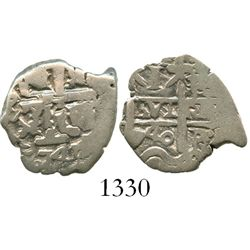 Potosi, Bolivia, cob 1 real, 1740+41P, very rare mule with 1740 on pillars side and 1741 on cross si