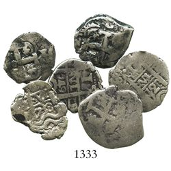 Lot of 6 Potosi, Bolivia, cob 1R of Philip V through Charles III: 1728M, 1729M, 1738(M), 1749q, 1754
