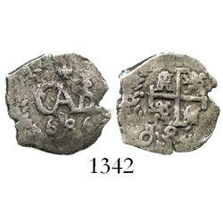 Potosi, Bolivia, cob 1/2 real, 1686.