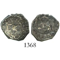 Guatemala, cob 1 real, 1733J, with large chopmark as from circulation in the Orient (very rare thus)