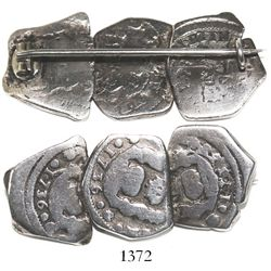 Pin made from three Guatemala cob 1R dated 1736 (2) and 1737, assayer J.