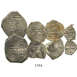 Lot of 4 miscellaneous Spanish and Spanish colonial silver-minor cobs: 4R Spain (mint uncertain); 1R