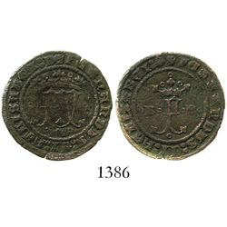 Burgos, Spain (for the New World), copper 2 maravedis, Ferdinand-Isabel, rare.