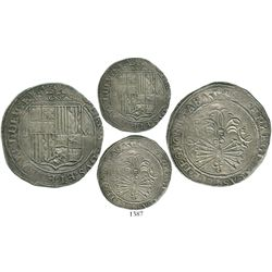 Seville, Spain, 8 reales, Ferdinand-Isabel, assayer Gothic D next to yoke, mintmark S to left of shi