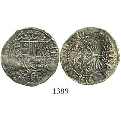 Granada, Spain, 1 real, Ferdinand-Isabel, assayer ermines flanking shield, mintmark Gothic G on reve