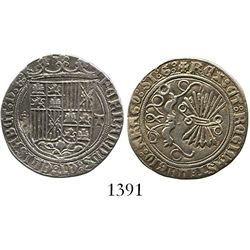 Toledo, Spain, 1 real, Ferdinand-Isabel, assayer five dots in cruciform to left, mintmark T to right
