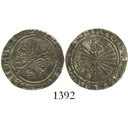 Seville, Spain, 1/2 real, Ferdinand-Isabel, mintmark S below yoke, ringlets flanking arrows.