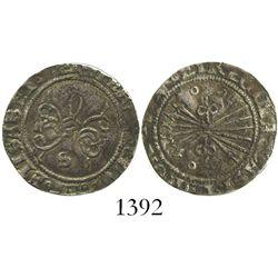 Seville, Spain, 1/2 real, Ferdinand-Isabel, mintmark S below yoke, ringlets flanking arrows.