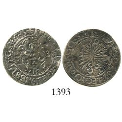 Toledo, Spain, 1/2 real, Ferdinand-Isabel, assayer + over mintmark T below yoke.