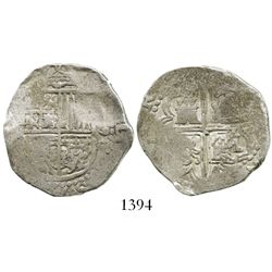 Seville, Spain, cob 4 reales, (15)91/0, assayer not visible (H), rare.