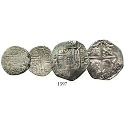 Lot of 2 Seville, Spain, cob minors: 4R, Philip III, assayer V; 1R, Philip II, assayer Gothic D.