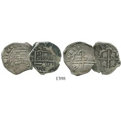 Lot of 2 Spanish cob 2 reales of Philip III: Seville, assayer not visible; and Toledo, assayer C.