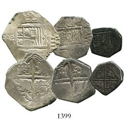 Lot of 3 Spanish cob minors (one 4R, one 2R and one 1R), mints of Seville and Toledo, Philip III and