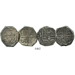 Lot of 2 Spanish cob 4 reales of Philip IV: Seville, assayer R; and Toledo, assayer P.
