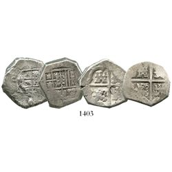 Lot of 2 Seville, Spain, cob 4 reales, Philip IV, assayers not visible.