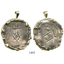 "Seville, Spain, cob 8 reales, Charles II, ""Maria"" type (1686-99), mounted monogram-side out in 14K g"