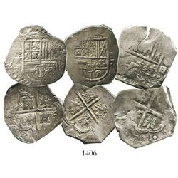 Lot of 3 Spanish-mint cob 4 reales of Philip II through Charles II, various assayers (where visible)