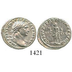 Roman Empire, AR denarius, Trajan, 98-117 AD.