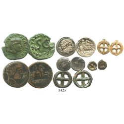"Lot of 7 miscellaneous Celtic silver and bronze coins, including early ""ring"" and ""wheel"" money and"