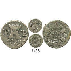 Cordoba, Argentina, 1/4 real, 1839P-P, Type II.