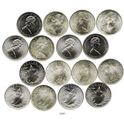 "Lot of 8 Bahamian ""conch"" dollars, various dates (1966-1973)."