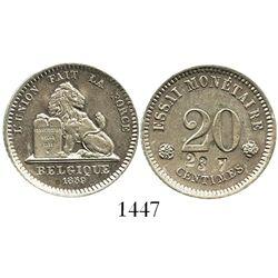 """Belgium, piedfort 20 centimes essai, 1859, countermarked """"23 7"""" (probably unique)."""