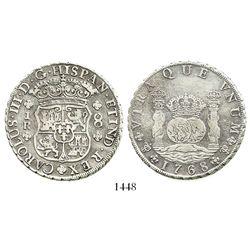 Potosi, Bolivia, pillar 8 reales, Charles III, 1768JR, 4-petalled rosette below shield.