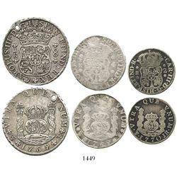 Three-coin denomination set of Potosi, Bolivia, pillars of Charles III: 8R 1769JR; 4R 1769JR; and 2R