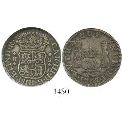 Potosi, Bolivia, pillar 2 reales, Charles III, 1767JR, encapsulated ANACS VF 20.