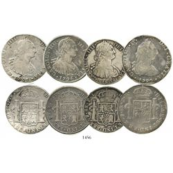 Lot of 4 Potosi, Bolivia, bust 8 reales, Charles IV, various dates: 1790PR (bust of Charles III), 17