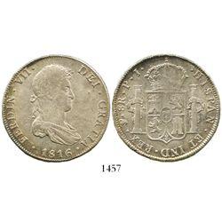 Potosi, Bolivia, bust 8 reales, Ferdinand VII, 1816PJ.