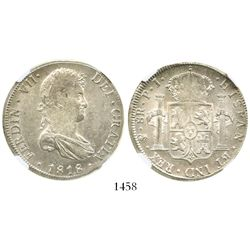 Potosi, Bolivia, bust 8 reales, Ferdinand VII, 1818PJ, encapsulated NGC MS 61.