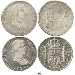 Lot of 2 Potosi, Bolivia, bust 8 reales of Ferdinand VII: 1813PJ and 1825JL.