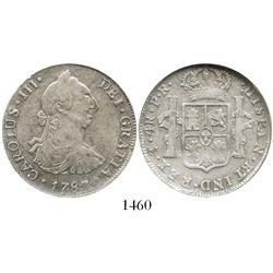 "Potosi, Bolivia, bust 4 reales, Charles III, 1787PR, encapsulated NGC VF 35, ""Cuzco hoard."""