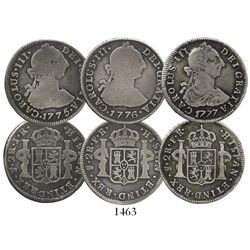 Lot of 3 Potosi, Bolivia, bust 2 reales, Charles III, various dates (1775JR, 1776PR and 1777PR).
