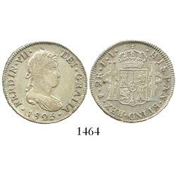 Potosi, Bolivia, bust 2 reales, Ferdinand VII, 1825JL.