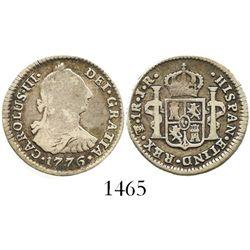 Potosi, Bolivia, bust 1 real, Charles III, 1776JR.