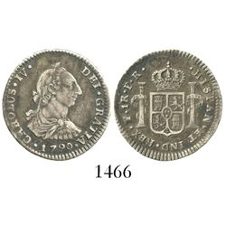 Potosi, Bolivia, bust 1 real, Charles IV transitional (bust of Charles III, ordinal IV), 1790PR.