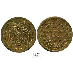 Potosi, Bolivia, bronze 50 centavos pattern, 1902MM.