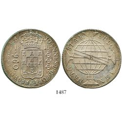 Brazil (Rio mint), 960 reis, Joao VI, 1815-R, struck over a Spanish colonial bust 8 reales.