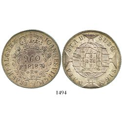 Brazil (Rio mint), 960 reis, Joao VI, 1818-R, double-leaves variety, struck over a bust 8 reales of